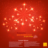 Red holiday background with fireworks round shape. Vector illust — Stock Vector