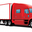 Stock Vector: Red semi truck