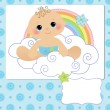 Cute template for baby postcard — Stock Vector