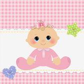 Söt mall för baby vykort — Stockvektor