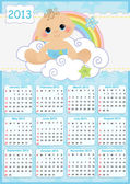 Cute monthly baby calendar for 2013 — Stock Vector