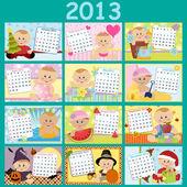 Baby's monthly calendar for 2013 — Stock Vector