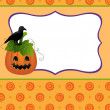Blank template for Halloween pumpkin postcard — Stock Vector