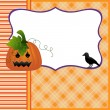 Blank template for Halloween pumpkin crow postcard — Stock Vector