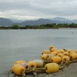 Buoys lie on the bank of the river — Stock Photo