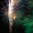 Fireworks in the black sky — Stock Photo