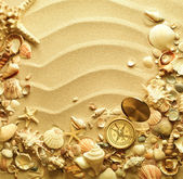 Sea shells and old compass with sand — Stock Photo