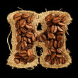 Alphabet from coffee beans on fabric texture isolated on black — Stock fotografie