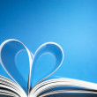 Pages of a book curved into a heart shape — Stock Photo #19405501