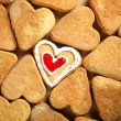 Heart shaped cookies on wooden table background - Stok fotoraf