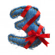 Jeans alphabet digit with holiday red ribbon - Stock Photo