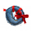 Jeans alphabet digit with holiday red ribbon - Foto Stock