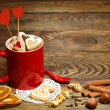 Valentine background with Fresh delicious cookies and cup - Stok fotoraf