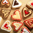 Heart shaped cookies on wooden table background - Stock fotografie