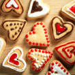 Heart shaped cookies on wooden table background - Stockfoto