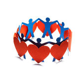 Group of red valentine hearts connected in chain, paper craft. — Stock Photo