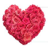 Cuore di fiori di rosa sopra bianco. san valentino. amore — Foto Stock