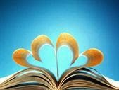 Páginas de un libro curvados en forma de corazón — Foto de Stock