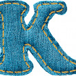 Handmade letter of jeans alphabet — Stockvectorbeeld