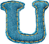 Handgjorda bokstaven i jeans alfabetet — Stockvektor