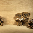 Teddy bears on wooden background — Stok fotoğraf
