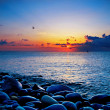 Beach and sea sunset - Foto de Stock  