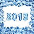 2013 sign in ice frame — Stock Photo