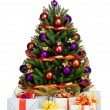 Stok fotoğraf: Decorated Christmas tree on white background