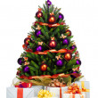Photo: Decorated Christmas tree on white background