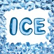 Foto Stock: Ice alphabet sign in ice frame