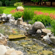 Garden with pond in asian style — Stock Photo #21806583