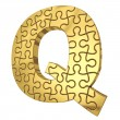 Stock Photo: 3d rendering of puzzle letter in gold metal on white isola