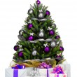 Decorated Christmas tree on white background — 图库照片