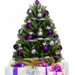 Decorated Christmas tree on white background — Stock Photo #21809019
