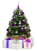 Decorated Christmas tree on white background — Stock Photo