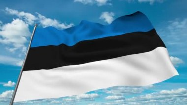 Estonia flag waving against time-lapse clouds background — Stock Video