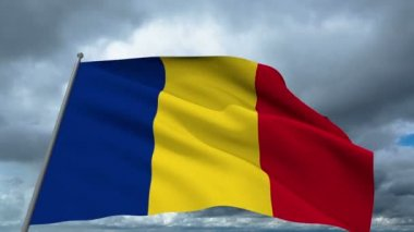 Romania flag waving against time-lapse clouds background — Stock Video