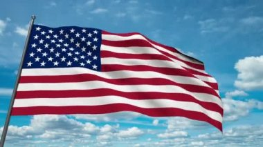 USA flag waving against time-lapse clouds background — Stock Video