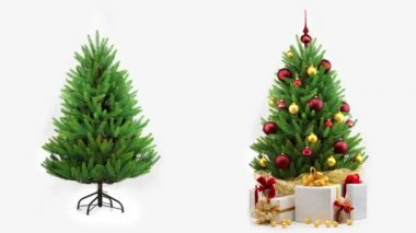 Christmas tree decoration on white background — Stock Video