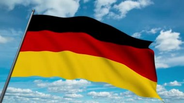German flag waving against time-lapse clouds background — Stock Video