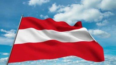 Avusturya bayrağı sallıyor zaman atlama bulutlar arka planı — Stok video