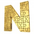 3d rendering of the puzzle letter in gold metal on a white isola — Stock Photo #21812991
