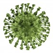 Stock Photo: Bacterivirus render in green color isolated on white