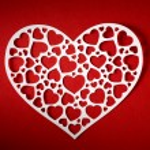 Valentine day card paper cutting design, Vintage papercraft them — Stock Photo #21815285