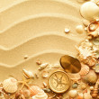 Sea shells and old compass with sand - Stock Photo