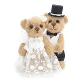 Classic teddy bear gentleman and his bride — Stock Photo