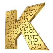 3d rendering of the puzzle letter in gold metal on a white isola — Stock Photo