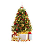 Decorated Christmas tree on white background — Fotografia Stock