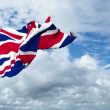 British flag animation with real time-lapse clouds - 图库照片
