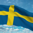 Sweden flag waving against time-lapse clouds background — Wideo stockowe